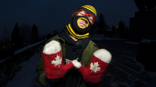 Mexican Rapist Mask meets Canadian tourist gloves.