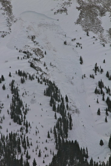 This happened in bounds on a run at Copper Mountain. It created a new chute destroying 100 year old growth trees.