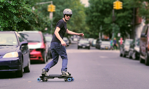 Nothing says snowboarding like riding a motorized Freebord on pavement.