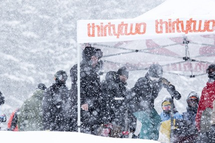 Hailee Mattingley pushes off for a good start in heavy snowfall. Photo: Gillian Montgomery