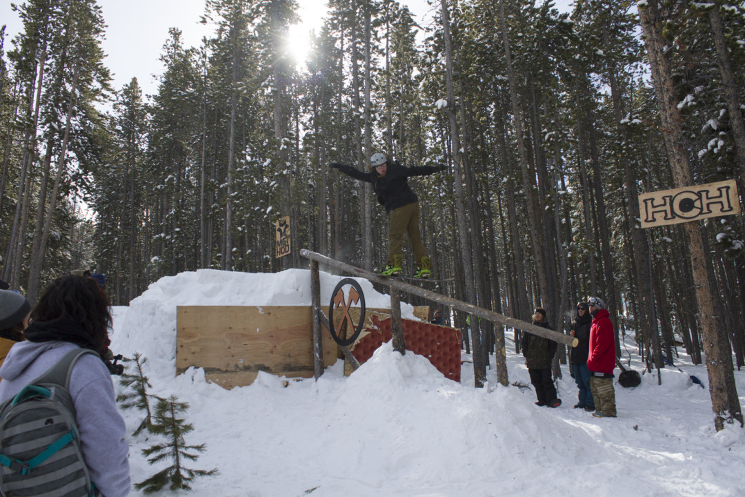 Tyler from Trollhaugen knows how to frontboard some logs. Photo Jordan Burns