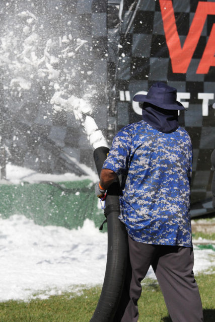 Blowing snow at Van Doren Rail Jam
